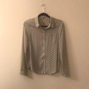 Grey and white polka dot blouse